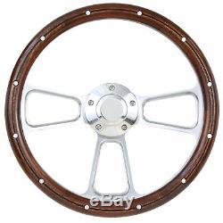1965 1966 1967 1968 1969 Ford Mustang Real Mahogany Steering Wheel & Adapter