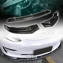 3pcs Real Carbon Fiber Front Body Kit Bumper Spoiler Lip Fit 17-20 Tesla Model 3
