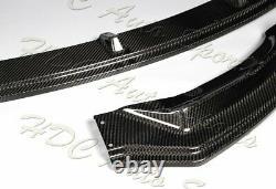 For 16-21 Tesla Model 3 Real Carbon Fiber Front Bumper Splitter Spoiler Lip Kit