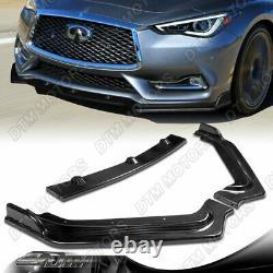 For 2017-2020 Infiniti Q60 Coupe Real Carbon Fiber V-Style Front Bumper Lip Kit