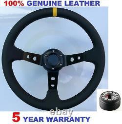 Genuine Leather Steering Wheel And Boss Kit Hub Fit Vw T4 Transporter 96-03