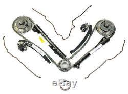 SET NEW OEM FORD 5.4L 3V Camshaft Phasers Sprocket Timing Tensioner Guide Chains