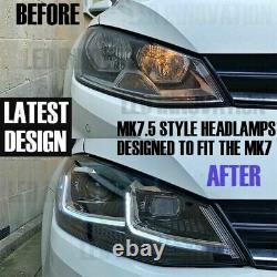 VW MK7.5 HEADLAMPS for MK7 GOLF LED DRL BI XENON GTD SWIPE SEQUENTIAL INDICATOR