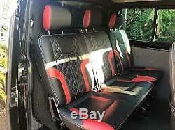VW Transporter Sportline T6, T5.1 Leather Seat Covers Trim Kits Black Genuine