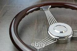 15 Inch Real Wood Stainless Steel Banjo Steering Wheel & Horn Kit- Chevy & Plus