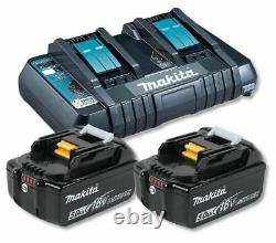 Makita Dc18rd Chargeur Double Avec 2 X Bl1850b 5.0ah Li-ion Batterie Kit Véritable