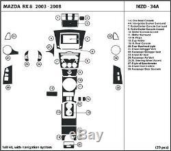 Mazda Rx 8 2003-2008 Avec Nav Kit Accessoires De Garniture Intérieure En Fibre De Carbone Véritable Carbone