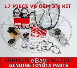 Nouveau Véritable Toyota 3.4 V6 5vzfe Kit De Courroie De Distribution Pompe À Eau 17 Pcs 4runner Tacoma