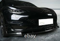 Pour 16-21 Tesla Modèle 3 Real Carbon Fiber Front Bumper Splitter Spoiler Lip Kit