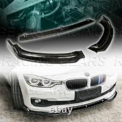 Real Carbon Fiber Front Bumper Lip 3pcs Fit 13-18 Bmw F30 3-série Base Berline