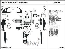Real Carbon Fiber Silver Dash Trim Kit Pour Ford Mustang 2001-2004 Coupe Intérieur