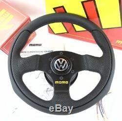 Véritable Équipe Momo Volant En Cuir 280mm, Kit De Moyeu Et La Corne. Volkswagen Vw