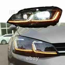 Vw Golf Mk7.5 Lampes Frontales Led Drl Bi-xenon Gtd Swipe Séquentiel Indicateur Royaume-uni